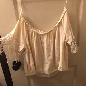 Cream, off the shoulder tube top.